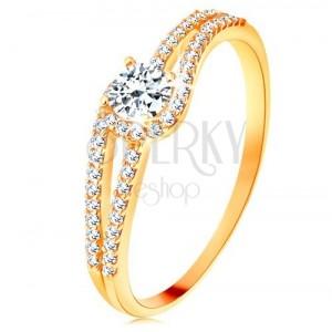 Prsten od zlata 375 s razdvojenim blistavim krakovima, prozirni cirkon