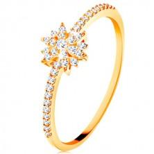 Prsten od 9K žutog zlata - svjetlucavi cvijet od prozirnih cirkona, blistavi krakovi