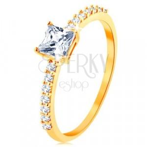 Prsten od 9K žutog zlata - podignuti cirkonski kvadrat, linija prozirnih cirkona
