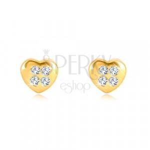 Žute 9K zlatne naušnice - simetrično srce sa  četiri cirkona, dugmad