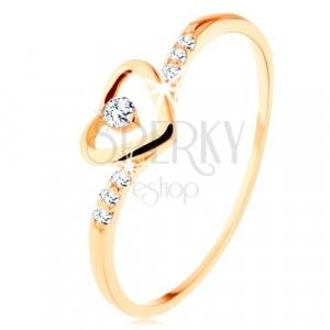 Prsten od zlata 375, silueta srca s prozirnim cirkonom, ukrašeni krakovi
