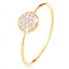 Prsten od zlata 375 - tanki sjajni krakovi, krug optočen prozirnim cirkonima