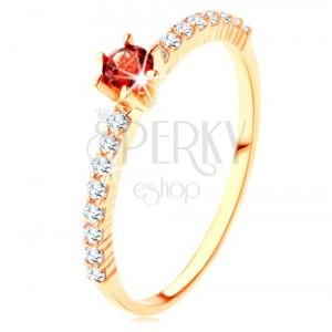 Prsten od zlata 375 - prozirne cirkonske linije, izbočeni okrugli granat crvene boje