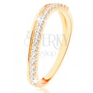 Prsten od 9K žutog zlata - glatka i prozirna cirkonska valovita linija
