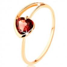 Prsten od 9K žutog zlata - crveno srce od granata, nepravilni krakovi