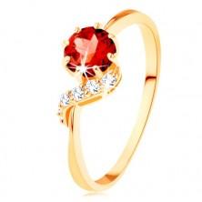 Prsten od zlata 375 - okrugli granat crvene boje, svjetlucavi val