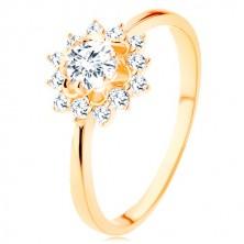 Prsten od 9K žutog zlata - prozirno cirkonsko sunce, sjajni uski krakovi