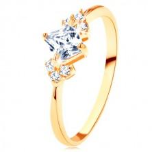 Svjetlucavi prsten od zlata 375 - proziran cirkonski kvadrat, prozirni cirkoni na bočnim stranama