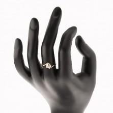 Prsten od 9K žutog zlata - prozirno cirkonsko srce, zakrivljeni krajevi krakova