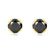 Žute 375 zlatne naušnice - brušeni okrugli cirkon crne boje, 6 mm
