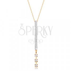 9K kombinirana zlatna ogrlica - uski pravokutni privjesak sa cirkonima