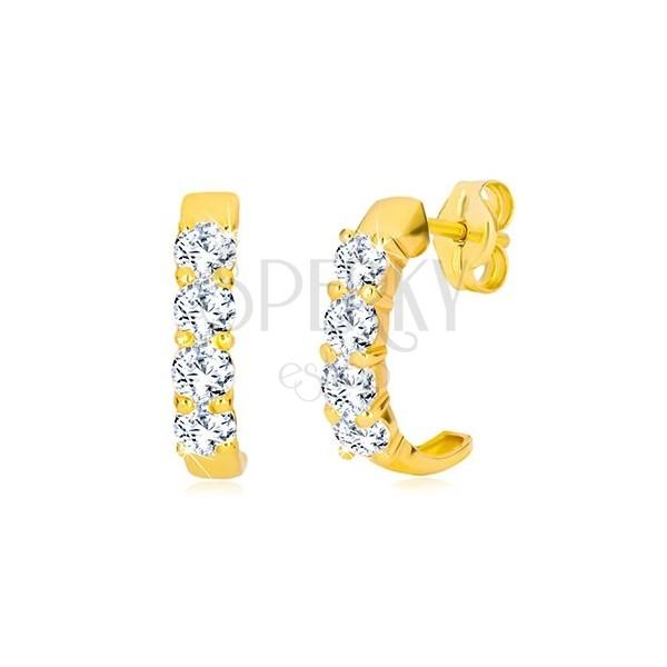 Žute 9K zlatne dugme naušnica - polukrugovi sa prozirnim okruglim cirkonima