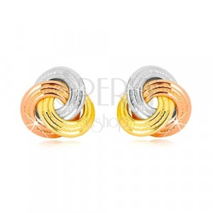 14K kombinirane zlatne naušnice - tri čvora u boji, širi prsteni s uzorkom