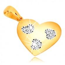 Privjesak od 585 žutog zlata - simetrično srce sa usjecima u obliku srca, cirkoni