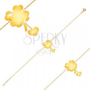 Narukvica od 14K žutog zlata - simbol sreće sa usjecima u obliku srca, srce na lančiću