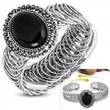 Gipka čelična narukvica - ovalni ornament sa crnim kamenom, spirala