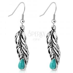 Viseće naušnice srebrne boje - pero pauna sa tirkiznim kamenom