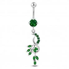 Čelični piercing za pupak - grozd, viseća osmica, cirkoni smaragdno zelene boje