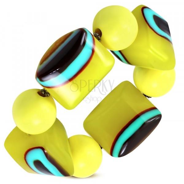 Elastična narukvica - žute loptice, perle od mlijećnog stakla, tirkizno smeđe oči