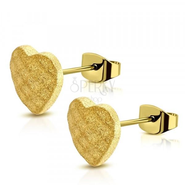 Čelične naušnice zlatne boje - simetrično pjeskareno srce, mreža, dugmad