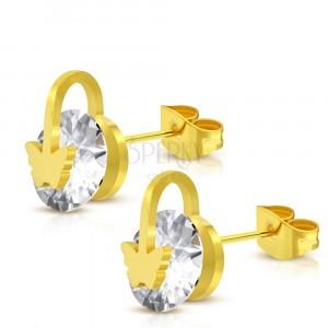 Čelične naušnice zlatne boje - svjetlucavi okrugli cirkon, leptir i krug