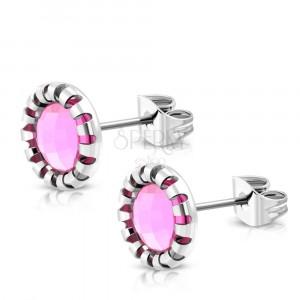 Čelična dugmad - urezani cvijet, kamen svijetlo ružičaste boje