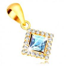 375 zlatni privjesak - kvadratni cirkon svijetlo plave boje obrubljen prozirnim cirkonima
