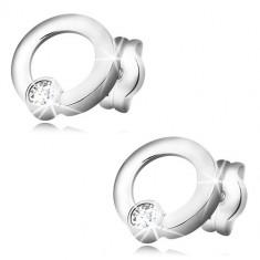 Naušnice od 585 bijelog zlata - sjajni krugovi, svjetlucavi okrugli cirkoni, dugmad