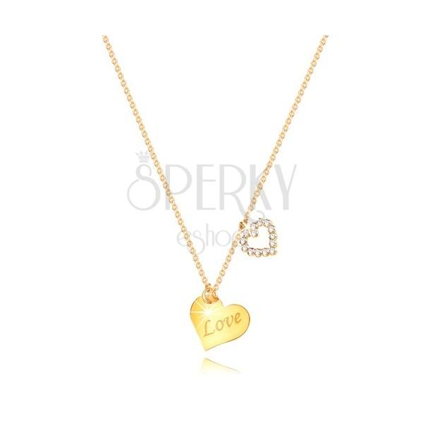 """9K ogrlica od žutog zlata - srce sa natpisom """"Love"""", silueta srca sa cirkonima"""