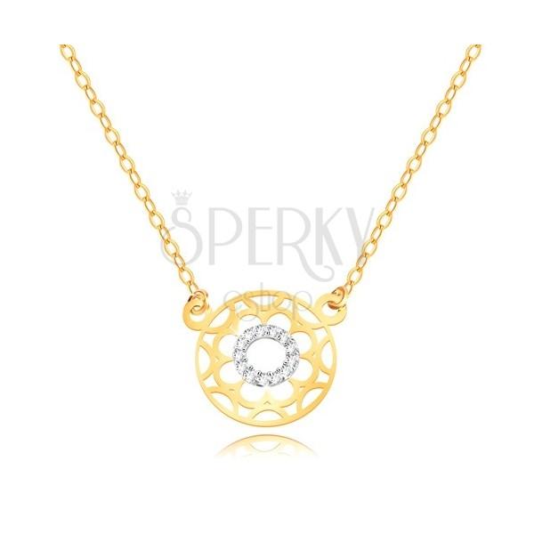 Ogrlica od kombiniranog 9K zlata - urezani cvijet i cirkonski prsten