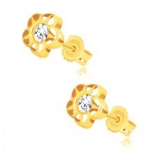 Žute 585 zlatne naušnice - cvijet sa pet latica i cirkonom, usjeci