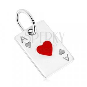 925 srebrni privjesak - motiv igrače karte, as srce i glazura crvene boje
