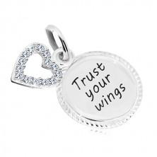 "925 srebrni privjesak - krug sa natpisom ""Trust your wings"", silueta srca sa cirkonima"
