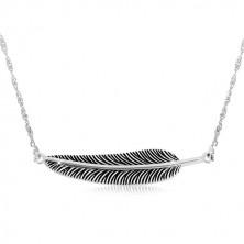 925 srebrna ogrlica - spiralni lančić i patinirano pero