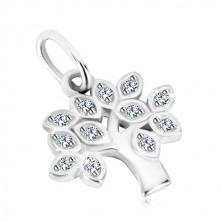 925 srebrni privjesak - drvo života, lišće sa prozirnim okruglim cirkonima