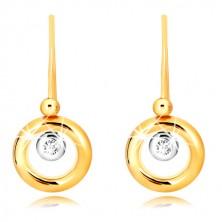 9K zlatne naušnice - prsten od žutog zlata, držač od bijelog zlata i cirkon