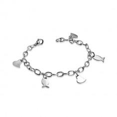 Narukvica od nehrđajućeg čelika - širi lančić, asimetrično srce i ribice