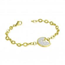 Čelična narukvica zlatne boje - dekorativni krug sa usjekom, prozirni svjetlucavi cirkoni