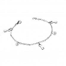 Narukvica od nehrđajućeg čelika srebrne boje - sjajne loptice i ključevi