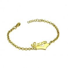 """Čelična narukvica zlatne boje - simetrično srce i natpis """"Love"""", lančić sa okruglim karikama"""
