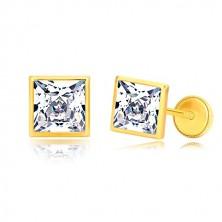 Naušnice od žutog 585 zlata - svjetlucavi kvadratni cirkon u sjajnom postolju, 6 mm