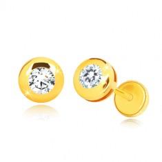 Naušnice od 14K žutog zlata - sjajni krug sa prozirnim okruglim cirkonom