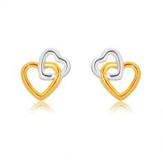 Kombinirane 9K zlatne naušnice - međusobno povezane siluete srca, dugmad