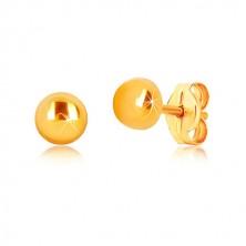 Naušnice od žutog 9K zlata - krug sjajne površine, dugmad