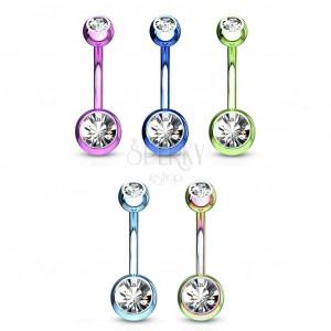 Čelični piercing za pupak - loptice sa svjetlucavim cirkonima, različite boje, duljina 10 mm