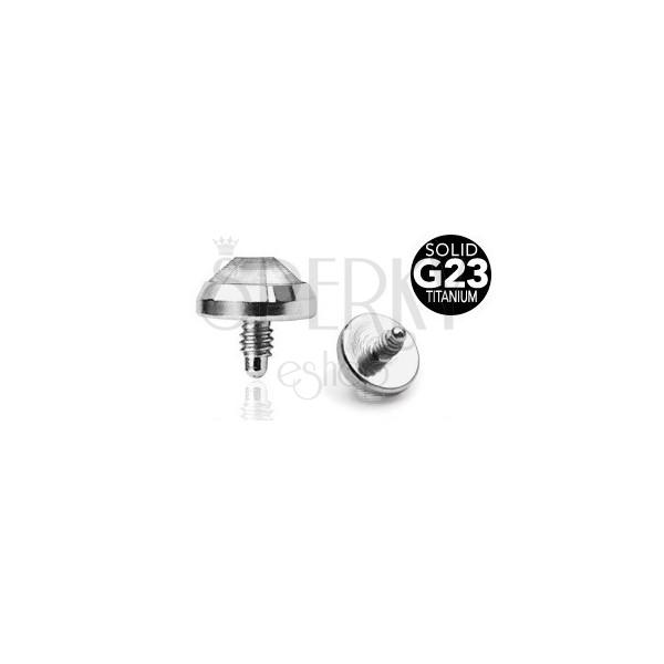 Rezervna glava od G23 titana - prozirni okrugli cirkon, 5 mm