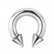 316L čelični piercing - sjajna potkova sa šiljcima, srebrna boja, širina 6 mm