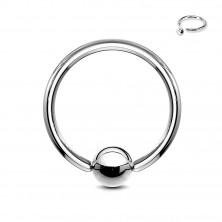 Piercing od nehrđajućeg čelika srebrne boje - krug sa lopticom, širina 2 mm