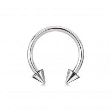 Piercing od nehrđajuećg čelika srebrne boje - konjska potkova sa šiljcima, širina 3 mm