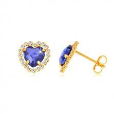 Naušnice od 375 žutog zlata - cirkonsko srce safirno plave boje sa prozirnim limunom